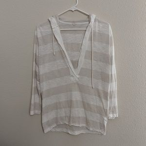 J. Crew Pullover Shirt Blouse Hooded Striped Light